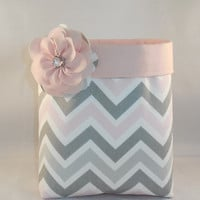 Pink, Gray and White Chevron Fabric Basket With Detachable Fabric Flower Pin For Storage Or Gift Giving