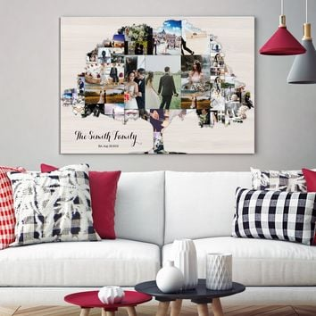Family Tree Art Print Wall Art Canvas Family Tree Collage Pictures Collage Personalized Wall Decor