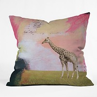 Natalie Baca Abstract Giraffe Throw Pillow