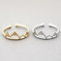 2016 New Tiny Adjustable Gold Stacking Sons Of Anarchy Ring Silver Friendship Midi Rings For Women Vintage Mountain Ring Jewelry