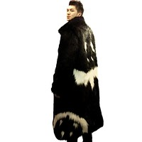 2016 new men's winter faux fur jacket Black gown white devil Style long windbreaker Fox thick warm fashion man leahter fur coat