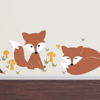 Fox Wall Decal Set - Children Nursery Boy Girl Vinyl Decals - Large Set