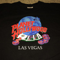 "Sale!! Vintage 1991 PLANET HOLLYWOOD ""Las Vegas"" black tee shirt Made in USA"