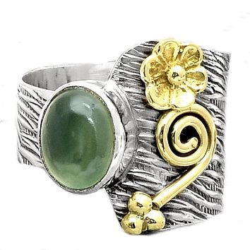 Jade Sterling Silver Floral Asymmetrical Ring