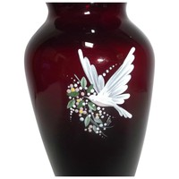 Blown Ruby Glass Vase with Hand Painted White Dove Flowers Vintage Pairpoint