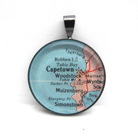 Vintage Map Pendant of Cape Town South Africa by CarpeDiemHandmade