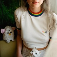 Unif: Rainbow stretch  navel knit short sleeve T blood