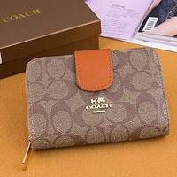 Coach fashion new leather print women contrast color shopping wallet handbag bag