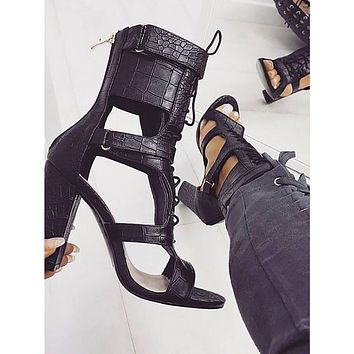 Fashion ladies sandals summer new open toe cross straps thick high heels