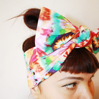 Bow Style Vintage Inspired Head Scarf Tie Dyed by OhHoneyHush