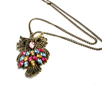"""Night Owl"" Dark Tone Jeweled Pendant Necklace"