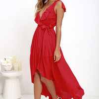 Merriment to Be Red High-Low Dress