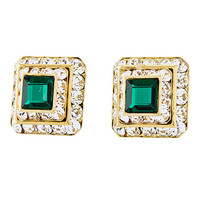 Square Emerald Clip-on Earrings