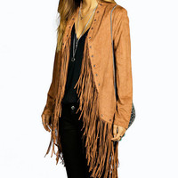 Long-sleeved tassel  stitching jacket