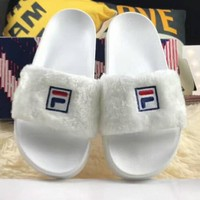 Baja East x Fila Creates High-Quality Women's Shoes with Stylish Plush Slippers F-HAOXIE-ADXJ White