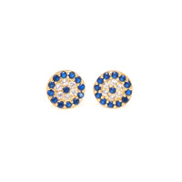Petite Round Evil Eye Blue CZ Stud Earrings