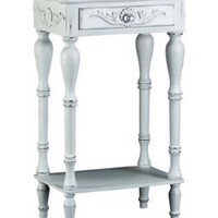 Western Art, Western Decor - Distressed White Carved Wooden Side Table with Drawer