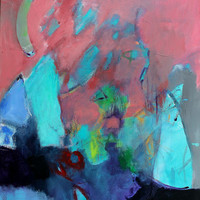 """Abstract Landscape Painting Canvas Colorful """"Mountain Shadows"""""""