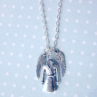Castiel silver tone charm necklace - Supernatural angel necklace with trenchcoat and angel wings