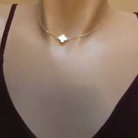 Mother of Pearl Clover Necklace, 14k Gold Fill or Sterling Silver, White MOP Clover Necklace,  Bridesmaid Gift, Side Leaf Clover Necklace