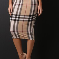Plaid Print Pencil Midi Skirt