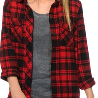 Empyre Cortland Red & Black Boyfriend Fit Flannel