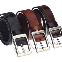 2014 New Unisex Men Bestselling Belt Top Quality Genuine Cow Skin Leather Casual Metal Buckle 3 Colors Gentalman's