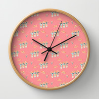 Fiesta!! Fun Mariachi Cactus Band on Soft Red Wall Clock by CandyBoxDigital