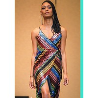 ~See Me Multicolored Sequin Wrap Dress