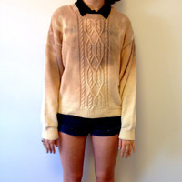 Hand-Dyed Bleached Cotton Ombre Sweater in Dusty Lilac and Yellow