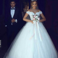 New Off-the-Shoulder Ball Gown Bridal Wedding Dress with Appliques Lace Bodice