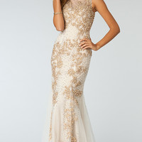 Beaded Floor Length Sleeveless Dress
