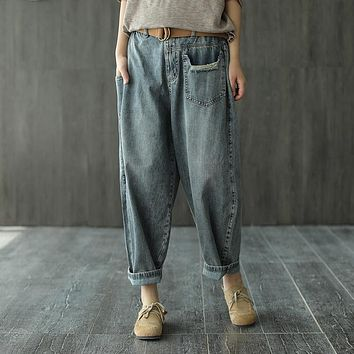 Summer Jeans Women Elastic Waist Loose Retro All-match Denim Pants 2020  New Casual Female Bleached Sashes Lantern Trousers (Blue One Size)