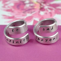 Wish | to infinity and beyond - Lovely Twist Couples Ring Set, Handwritten Font Version, Hand Stamped, Aluminum Rings,Shiny, Skinny
