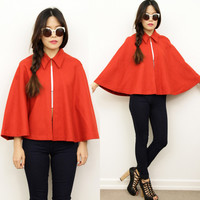 Vintage Retro RED Point Collar Wool Militarty CAPE Poncho Coat 8 Costume Xmas