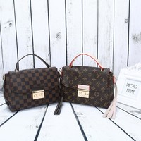 """Louis Vuitton"" Fashion Classic Tartan Retro Logo Print Single Shoulder Messenger Bag Women Handbag"