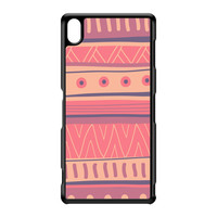 Pastels Hand Drawn Tribal Aztec Pattern Black Hard Plastic Case for Sony Xperia Z3 by UltraCases