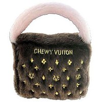 Brown Chewy Vuiton Dog Purse Toy