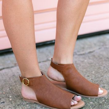 Out for CoffeeBrown Open Toe Flat
