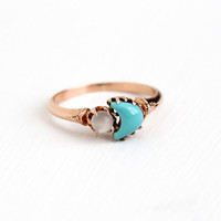 Antique Victorian 10k Rose Gold Moonstone & Turquoise Crescent Moon Ring - Vintage Size 8 Victorian Teal Blue and White Gem Fine Jewelry