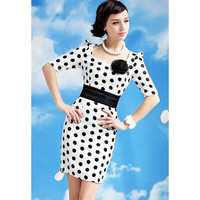 White Polka Dot Floral Attached Mini Dress