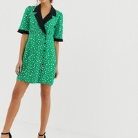 ASOS DESIGN collared wrap mini dress in spot | ASOS