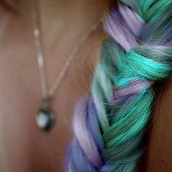 BOMBSHELL BRAID traditional braided clip in extension  / RAINBOW human hair/ bold or pastel / 18 inches long/free people hair