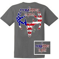 Country Life Outfitters USA American Flag Deer Skull Head Vintage Unisex Gray Bright T Shirt