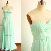 Strapless Sweetheart Mint Blue Chiffon Full Length Long Bridesmaid Dress Floor Length Party Dress for Wedding