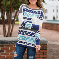 Waiting For Love Sweater, Blue-Gray