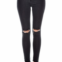Hole Knee Black Denim Pants