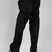 Privileged Suede Perforated Pointy Toe Stiletto Thigh High Boot