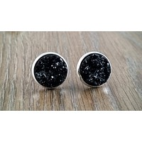 Druzy earrings- black drusy silver tone stud druzy earrings