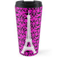 Eiffel Tower Silhouette, Damask - White Black Pink